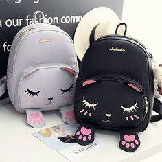 Gray and Black Cute Kitty Cat School Backpack Bag HF00086