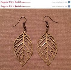 ON SALE Brass Leaf Earrings by RoseyJohnny on Etsy, $4.72
