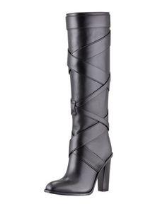 Wednesday, September 11th: Saint Laurent Wraparound Wood-Heel Tall Boot, 212 872 8940