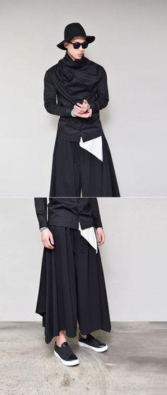 Bottoms :: Pants :: Avant-garde Ultra Wide Cut-Pants 251 - GUYLOOK Men's Trendy Fashion Clothing Online