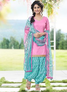 Buy Pink Hina Khan Patiala Suit online from the wide collection of Salwar Kameez.  This Pink  colored Salwar Kameez in Blended Cotton  fabric goes well with any occasion. Shop online Designer Salwar Kameez from cbazaar at the lowest price.
