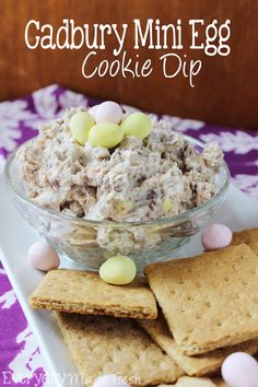 Cadbury Mini Egg Cookie Dough Dip For Easter - Oh My Creative A cookie dough dip made with cream cheese, powdered sugar, and Cadbury Mini Eggs! This Cadbury Mini Egg Cookie Dough Dip is perfect for Easter! No Egg Desserts, Desserts Ostern, Dessert Dips, Oreo Dessert, Mini Desserts, Easy Desserts, Delicious Desserts, Dessert Recipes, Dip Recipes