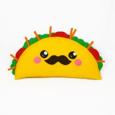Taco kawaii plushie plush toy novelty humor cushion play food geekery mexican food