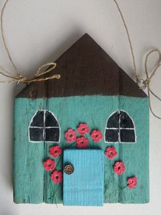 Hand made wall decoration wall hanging shabby chic teal cottage with flowers