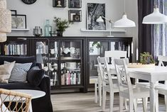 Interior unique dining room storage cabinets with and sideboards Living Room Rugs Ikea, Ikea Dining Room, Dining Room Storage, Black Cabinets, Storage Cabinets, Display Cabinets, Small Dining, Family Room, Furniture