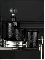 Ralph Lauren Skull & Crossbone Black Crystal decanter and glasses