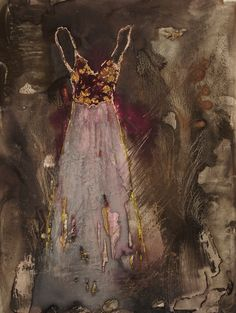party dress ~ mixed media ~ by judy thorley