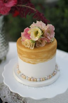 gold white rose gold silver metallic small wedding cake by Frost Me Sweet