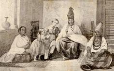 Intérieur de Signare, aquarelle de Darondeau - Senegalese Signare, her children and handmaidens
