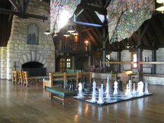 Large chess board at Pere Marquette lodge in grafton,il