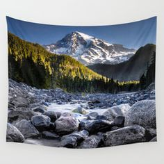 Mt Rainier Morning on the Nisqually #2 Wall Tapestry