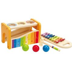 Tink tink tink! The sound of wooden balls pounding down onto a musical xylophone is sure to delight and enchant your child's curiosity! With the Pound and Tap Bench from Hape there are so many diff...