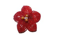 French Beaded Red Flower Brooch with by BeadedGardenCanada on Etsy Beaded Flowers, Red Flowers, Floral Pins, Bonsai Trees, Flower Brooch, French, Gemstones, Pearls, Etsy