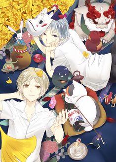/Cross-Over/#770535 - Zerochan | Natsume Yuujinchou and Hotarubi no Mori e | Natsume Takashi, Nyanko-sensei/Madara, and Gin