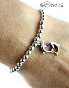 silver beads bracelet with delfin pendant / Silberperlen Armband DELFIN aus 925 Sterling