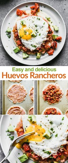 Huevos Rancheros are Mexican style eggs with corn tortillas refried beans and salsa. A delicious healthy breakfast that the whole family loves! Huevos Rancheros, Slow Cooker Recipes, Cooking Recipes, Salsa, Food Stamps, Refried Beans, Easy Dinner Recipes, Delicious Recipes, Family Meals