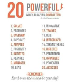 20 Powerful Words To Use In A Cover Letter Resume Power Action