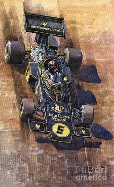 Lotus 72 Canadian Gp 1972 Emerson Fittipaldi  Painting by Yuriy  Shevchuk