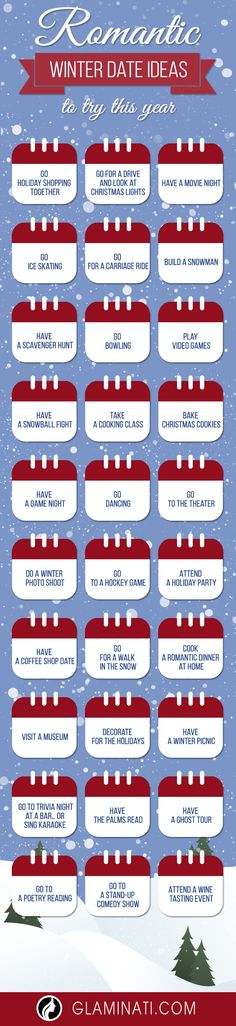 Every woman loves romantic dates. Follow these winter date ideas to celebrate love.