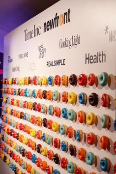 At this year's Time Inc. NewFront presentation, which was held on May 4 at the Hammerstein Ballroom, Ray Bloch Productions created a doughnut wall featuring treats with vibrant glazes that represented the brand's new logo colors. Great Performances supplied the doughnuts.  Photo: Great Performances