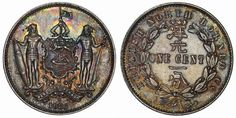Reign Victoria Denomination Cent Date Struck 1886 H Obv: Arms supported by two warriors. Rare British Coins, Gold And Silver Coins, Borneo, Stamps, Victoria, History, Projects, Coins, Seals