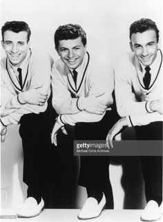 Fred Milano, Dion DiMucci and Carlo Mastroangelo of the doo-wop group 'Dion and the Belmonts' pose for a portrait in 1959 in New York, New York.