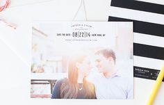 Modern and fun black and white save the date cards with stripes from the Brklyn View Collection by Sincerely, Jackie and Brklyn View Photography