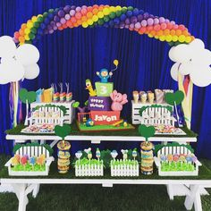 I just had to share the amazing #pocoyo in the park #rainbow #birthdayparty by @serendipitydodoes with @californiadonuts @chocolatepopsbyalice @awishandawhisk @janiceselem