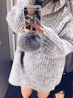Plush Faux Fur Ball Pendant Mirror Surface Phone Case iPhone 5 5S 6 - DGCouture - 3