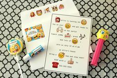 Emoji Party Invitation - use emoji stickers within the text
