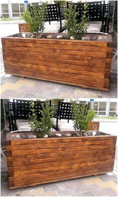 Sometime just one huge planter is enough to make the area attractive, so we have added this image to help people copy this idea of upcycled wood pallet planter for the lawn to make it appealing. The planter is decorated with rocks inside it and they are making it look nice.