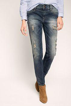EDC / Boyfriend-Jeans im Destroyed-Look Boyfriend Jeans, Fashion Online Shop, Pants, Blue, Shopping, Dark, Clothing, Trouser Pants, Women's Pants