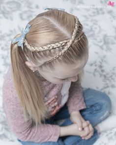 Super cute pigtail style with crossed lace braids 😍😍 this style is inspired by our super talented friend Adriana little_princess_hairstyle 💗💗💗 hope you all like Dance Hairstyles, Princess Hairstyles, Little Girl Hairstyles, Braided Hairstyles, Cool Hairstyles, Princess Braid, Hair Due, Pigtail Braids, Lace Braid