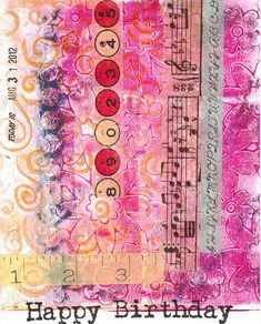 Card made with a gelli print background