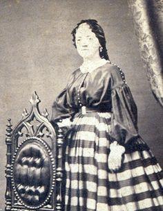 Note buttons on shoulders. Cincinnati Stunner Striped Crinoline Civil War Dress | eBay- looks almost to be a silk shirt waist, and silk skirt.