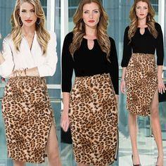 Sexy Leopard Printing Split Joint Knee-Length Skirts #skirt #fashion #summer