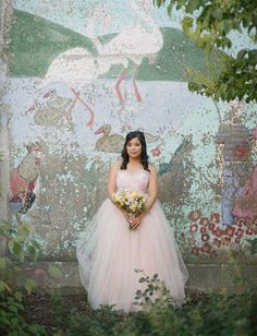 Blush Pink Tulle Wedding Dress - Vintage Style Ball Gown - Kristine Style - Avail & Company, LLC  This pale pink dress is simple and elegant with a poofy tulle skirt out of a fairytale. The dress also has detachable straps and is perfect for the outdoors.