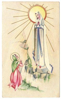Art Deco Our Lady of Lourdes & St. Bernadette Antique Vintage Frnch Holy Prayer Card, Catholic Gift, Goldprint, Healing Saint, Virgin Mary