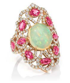 Cellini Jewelers Sutra Jewels Opal and Spinel Ring  This elegant and vibrant ring, is composed of 2.52 carats of pink spinel, 3.62 carats of opal, and 1.44 carats of round brilliants.
