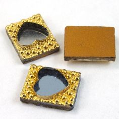 6mm x 10mm Gold Rectangle with Silver Heart