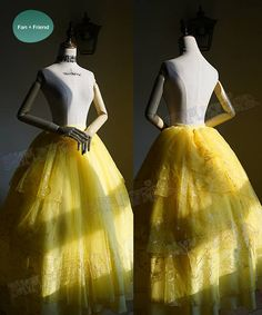 Made by light faille fabric and organdy Including: Top, made by yellow light faille fabric inside and yellow organdy with golden stripes prints outside (only front and back), full cotton linings, zipper in right side for easy wearing;  Maxi skirt, floor length, multiple layers: inside layer in yellow light faille fabric, outside layers in yellow organdy with golden prints in tiered lengths, four irremovable organdy ribbons back, elastic back for easy wearing;  ❀This is a make-to-order item…