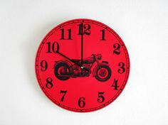 Motorcycle Wall Clock  Motor Bike on Red  Man by GoldenDaysDesigns