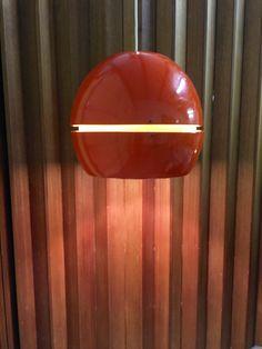RARE Huge Sonneman Pendant Light Metal Orange by OffCenterModern