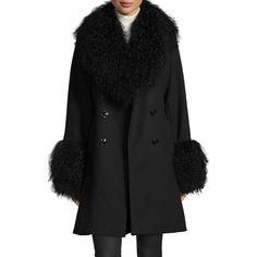 Sofia Cashmere Wool-Cashmere A-line Coat W/ Mongolian Lamb Fur ($1,270) ❤ liked on Polyvore featuring outerwear, coats, fur coat, black cashmere coat, wool fur coat, white coat en double breasted coat