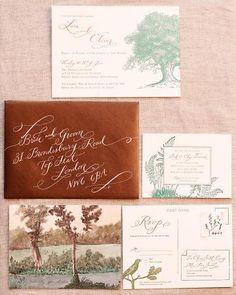 ":::""secret garden"" inspired invitations designed by bride's friend (Kristen Ekeland)"