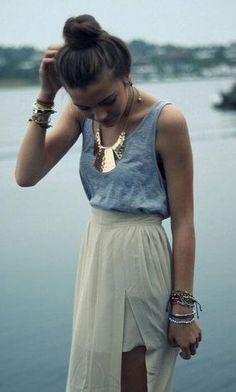 summer outfits  (Blue ombre skirt [or mint green], grey singlet and gold necklace)
