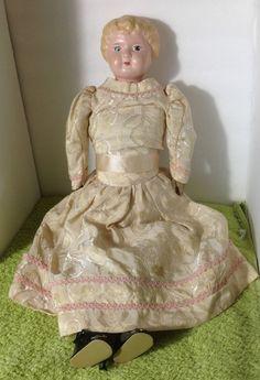 Vintage Antique MINERVA Germany 6 Metal Tin Head Woman Female Doll 21.5