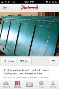 I wanted to show you how I have already lost 24 pounds from a new natural weight loss product and want others to benefit aswell. - old door + crown molding = headboard! old door + crown molding = headboard! Do It Yourself Vintage, Do It Yourself Design, Do It Yourself Baby, Do It Yourself Inspiration, Color Inspiration, Furniture Projects, Home Projects, Diy Furniture, Window Furniture