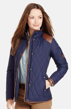 Lauren Ralph Lauren Faux Leather Trim Quilted Jacket (Regular & Petite) available at #Nordstrom