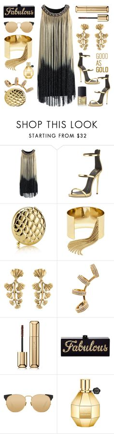 """Good As Gold"" by junglover ❤ liked on Polyvore featuring Chicwish, Giuseppe Zanotti, Estée Lauder, BaubleBar, Oscar de la Renta, Repossi, Guerlain, Edie Parker, Linda Farrow and NARS Cosmetics"